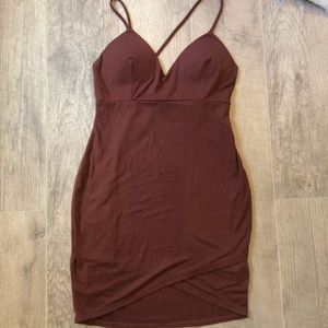 Short Open Back Maroon Dress